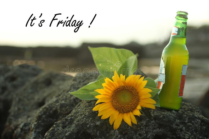 Het concept van de vrijdaggroet - Het is Vrijdag Het welkom heten Vrijdag en weekend met zonnebloembloesem op overzeese rots legg royalty-vrije stock fotografie