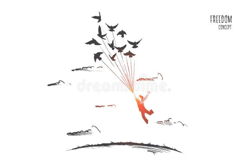 Het concept van de vrijheid Hand getrokken geïsoleerde vector vector illustratie