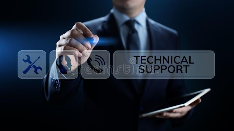 Het concept van de de waarborgkwaliteitsborging van de technische ondersteuningklantenservice stock afbeeldingen