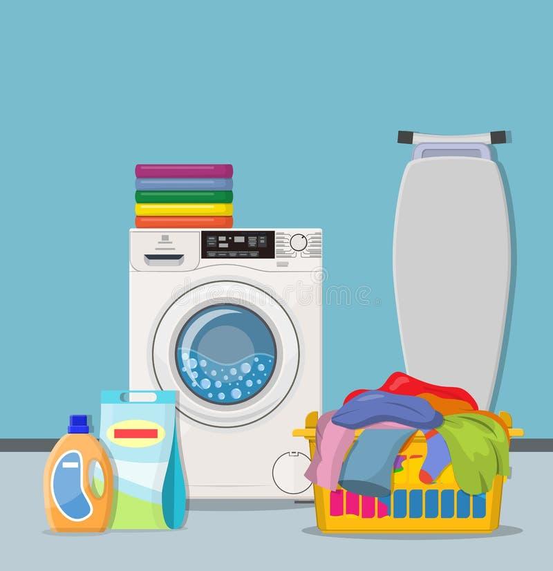 Het concept van de wasserijbediening op de kamer vector illustratie