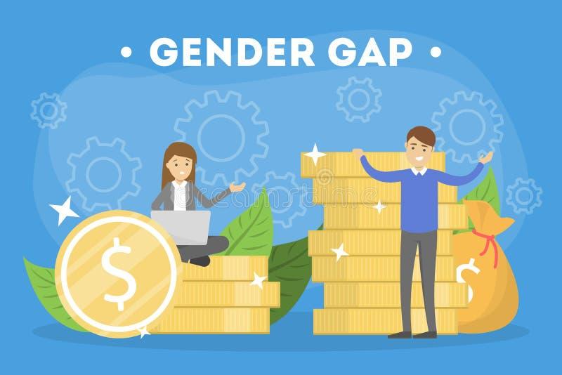 Het concept van de het Webbanner van het geslachtshiaat Idee van verschillend salaris vector illustratie