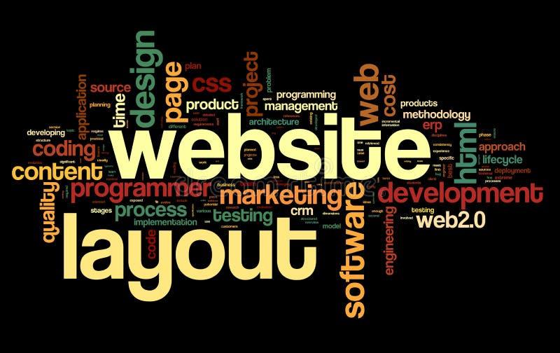 Het concept van de Weblay-out in de wolk van de woordmarkering stock illustratie