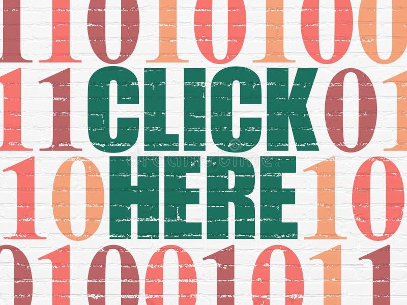 Het concept van de Webontwikkeling: Klik hier op muur royalty-vrije stock afbeelding
