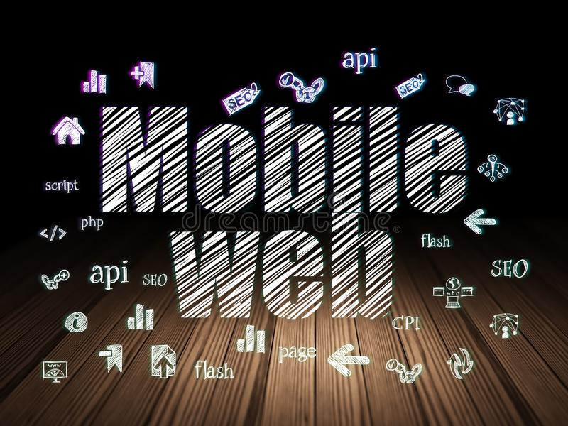 Het concept van de Webontwikkeling: Mobiel Web in grunge donkere ruimte royalty-vrije illustratie
