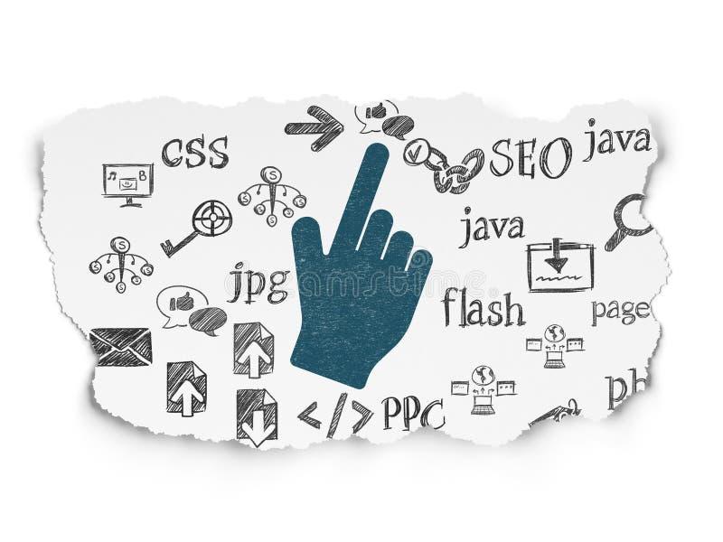 Het concept van de Webontwikkeling: Muiscurseur op Gescheurd royalty-vrije illustratie