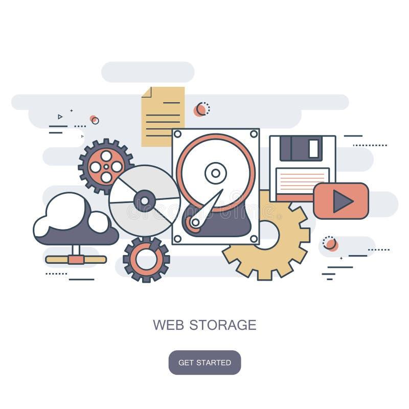 Het concept van de Webopslag De gegevensverwerkingsconcept van de wolk Het werkbureau met computertechnologie, celtelefoons en ta royalty-vrije illustratie