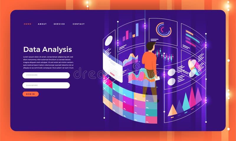 Het concept van het de website vlakke ontwerp van het modelontwerp digitale marketing dat stock illustratie