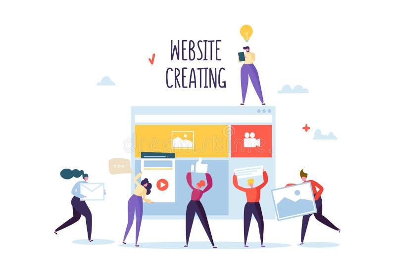 Het concept van de websiteontwikkeling Vlakke Mensenkarakters Team Work Creating Web Page GebruikersinterfaceMobiele Toepassing royalty-vrije illustratie
