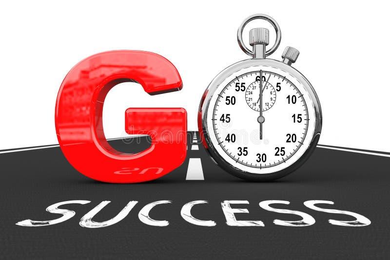Het concept van de weg naar het succes Chronometer zoals gaan Teken over Succesweg stock illustratie