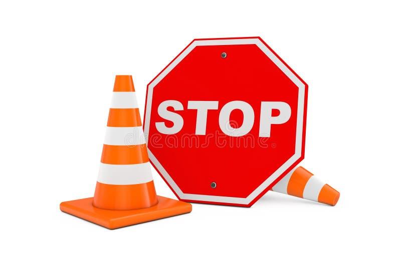 Het concept van de wegreparatie Verkeerskegels met de Rode Raad van het Eindeteken 3d vector illustratie