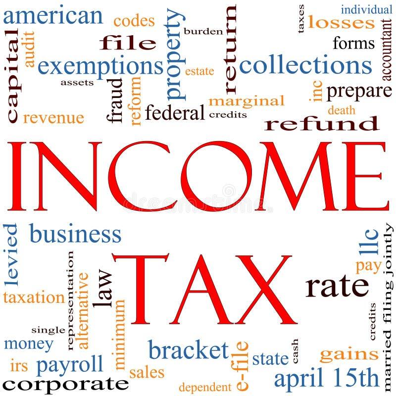 Het concept van de Wolk van Word van de Inkomstenbelasting vector illustratie