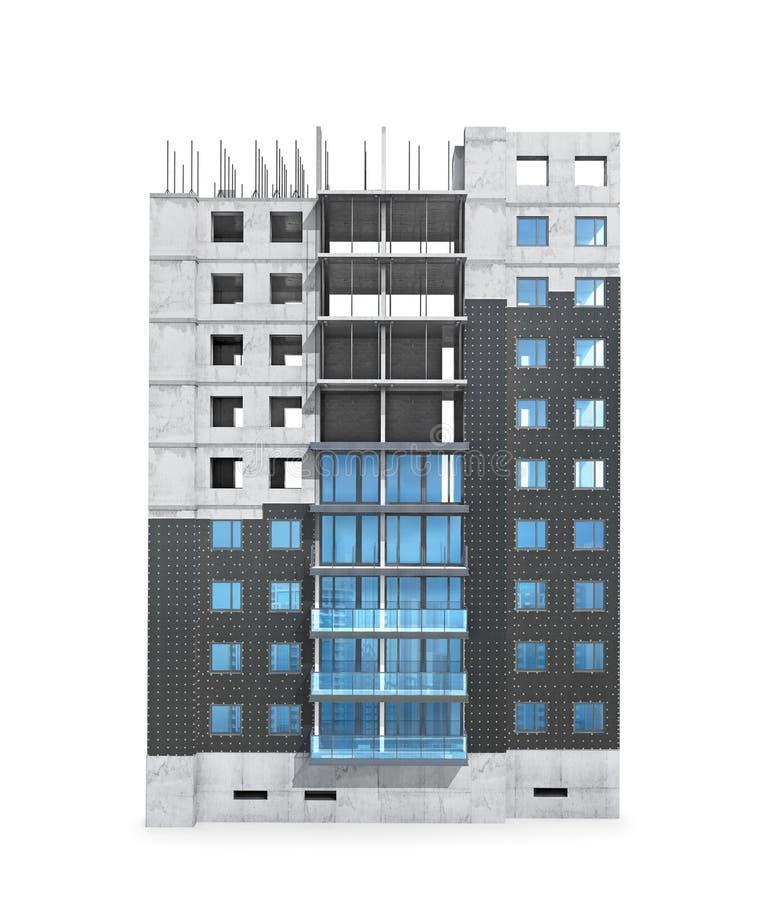 Het concept van de woningbouwbouw, regelingsisolatie van een privé monolithisch huis stock afbeelding