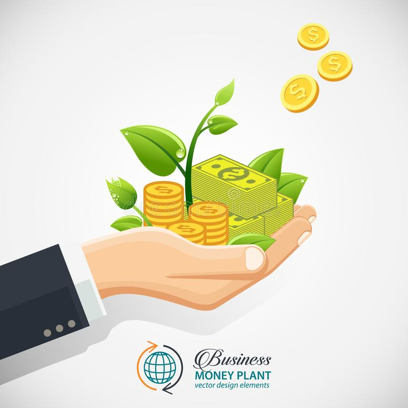 Het concept van de zakenmaninvestering Hand die geld, muntstukken met spruit geven royalty-vrije illustratie