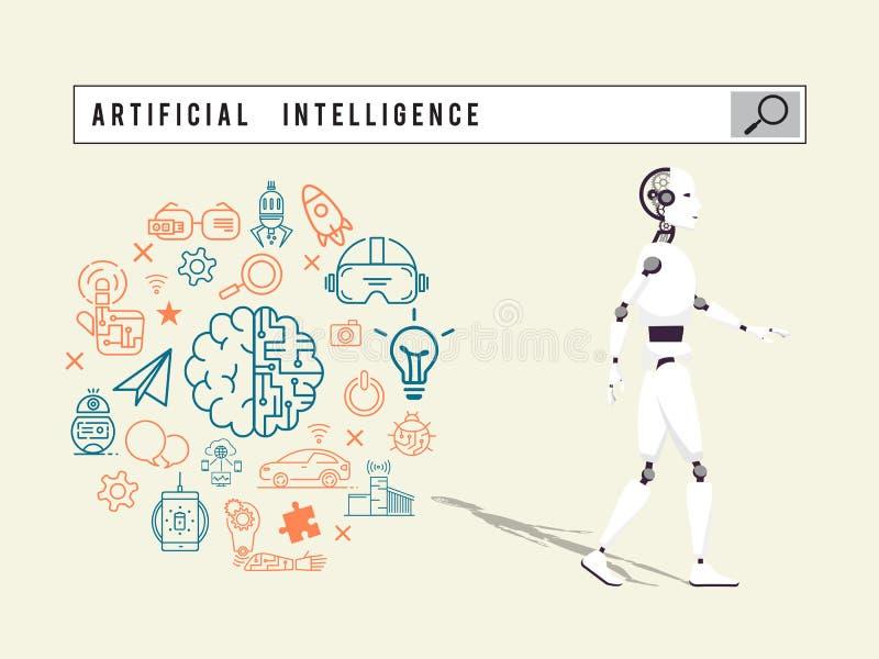 Het concept van de zoekmachinekunstmatige intelligentie royalty-vrije illustratie