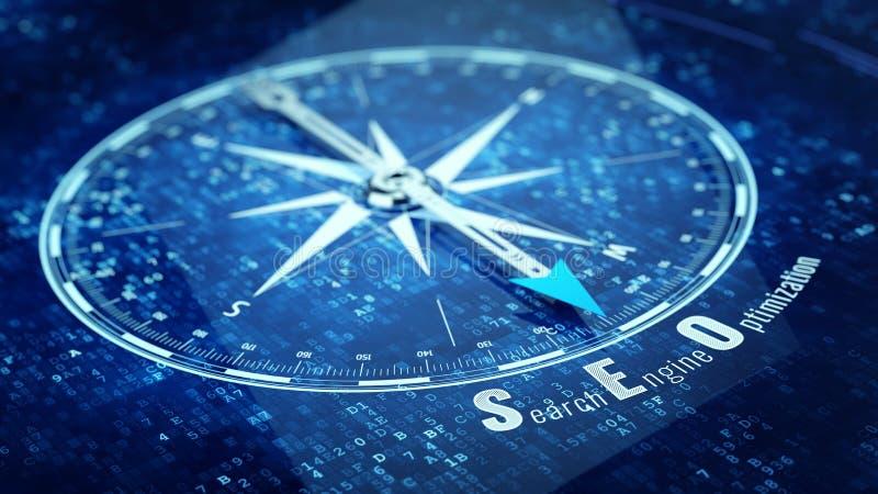 Het concept van de zoekmachineoptimalisering - Kompasnaald die SEO-woord richten vector illustratie