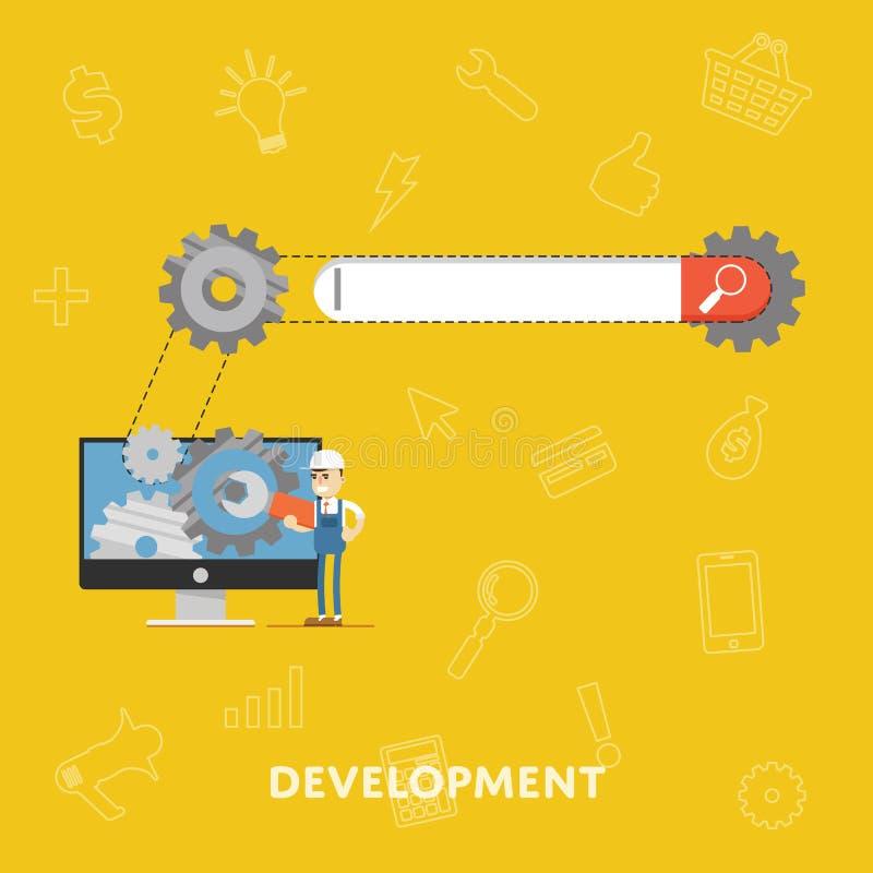 Het concept van de zoekmachineoptimalisering SEO vector illustratie