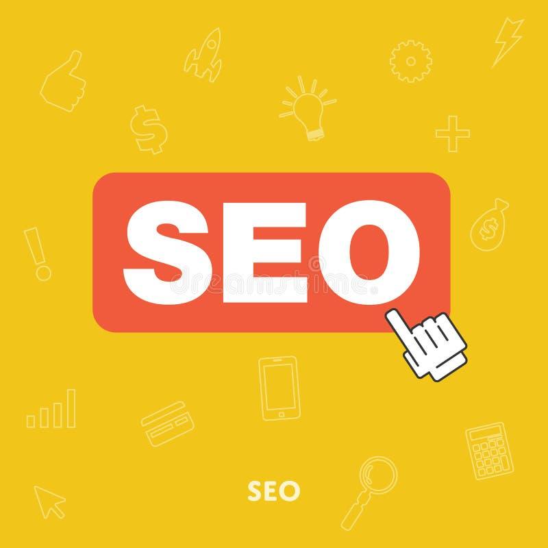 Het concept van de zoekmachineoptimalisering SEO stock illustratie