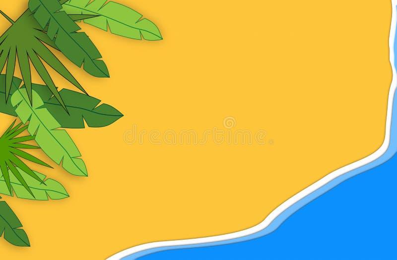 Het concept van de zomer Het gouden zandige strand, overzees en ontspant plaatsen Met de hand gemaakte, document samenstelling vector illustratie