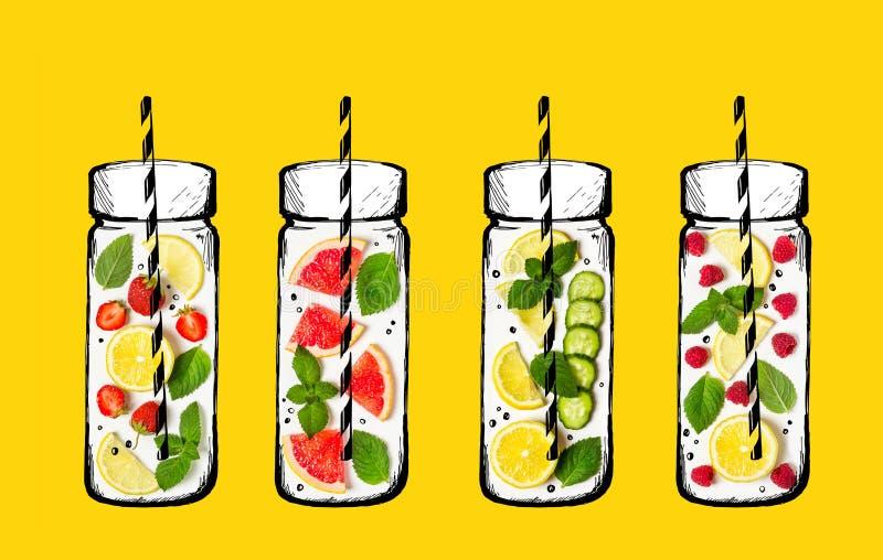 Het concept van de de zomerdrank Ingrediënten voor limonade Verse vruchten en vector illustratie