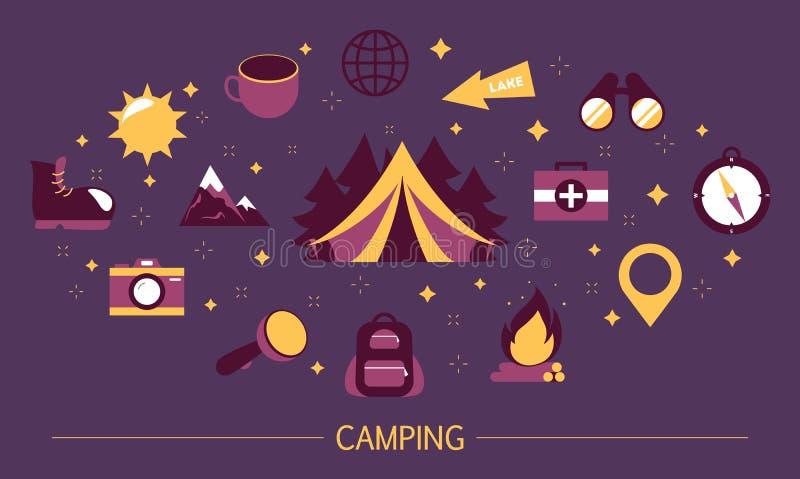 Het concept van het de zomerkamp Idee van wandeling in berg royalty-vrije illustratie