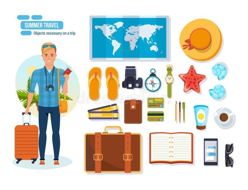 Het concept van de de zomerreis Jonge reizigersmens Voorwerpen noodzakelijk op reis royalty-vrije illustratie
