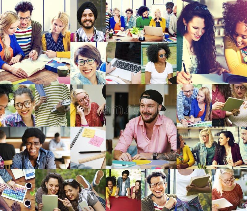Het Concept van Digital Devices Teamwork van de diversiteitsStudent stock afbeeldingen