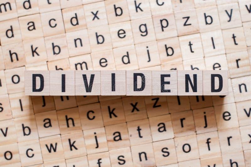 Het concept van het dividendwoord stock fotografie