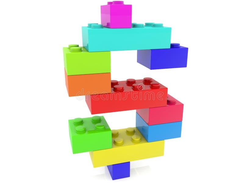Het concept van het dollarteken bouwt van kleurrijke stuk speelgoed bakstenen stock illustratie