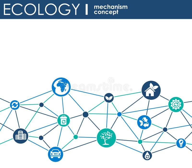 Het concept van het ecologiemechanisme Abstracte achtergrond met verbonden toestellen en pictogrammen voor vriendschappelijke eco stock foto