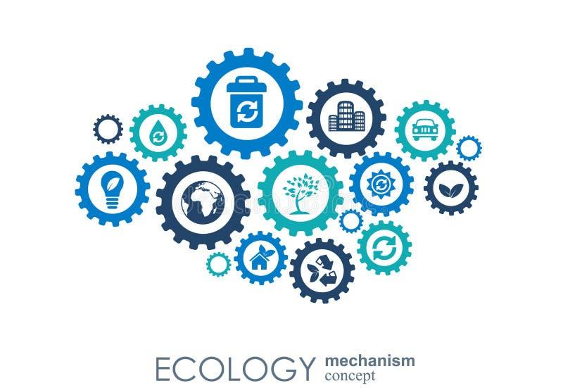 Het concept van het ecologiemechanisme Abstracte achtergrond met verbonden toestellen en pictogrammen voor vriendschappelijke eco vector illustratie