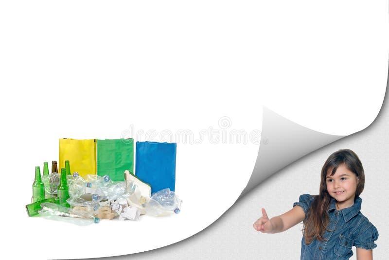 Het concept van het ecologieonderwijs met meisje royalty-vrije stock afbeelding