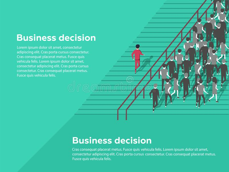 Het Concept van het Economisch besluit mogelijkheden Zekere zakenman die de beste oplossing selecteren stock illustratie