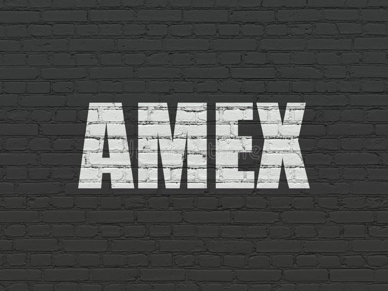 Het concept van effectenbeursindexen: AMEX op muurachtergrond royalty-vrije stock fotografie