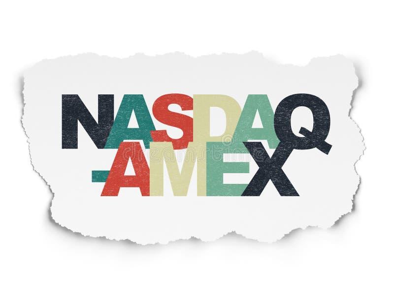 Het concept van effectenbeursindexen: NASDAQ-AMEX op Gescheurde Document achtergrond stock afbeeldingen