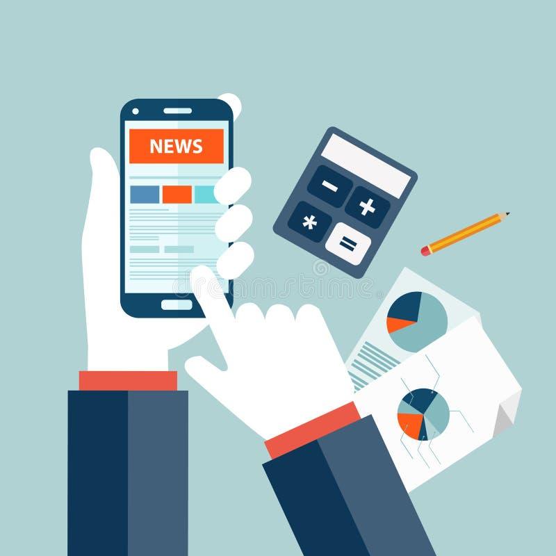 Het concept van het effectenbeursnieuws Online marktnieuws Bulletin en informatie Bedrijfs en marktnieuws Financieel rapport stock illustratie