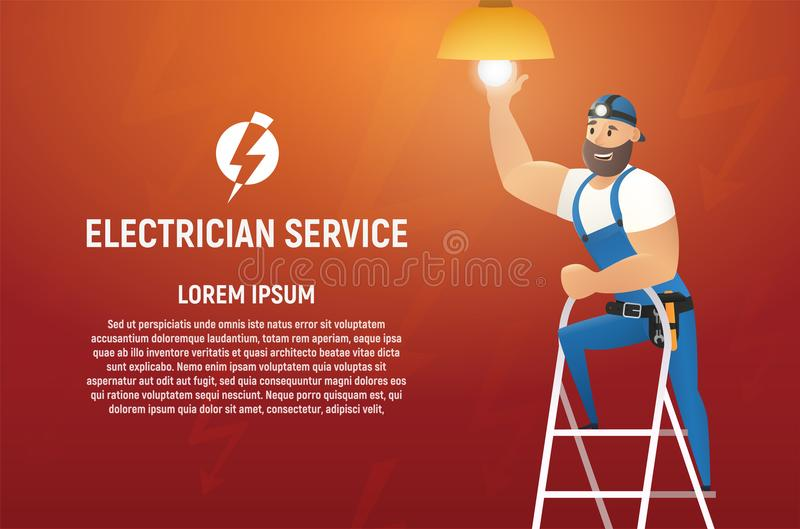 Het Concept van elektricienservice cartoon vector vector illustratie