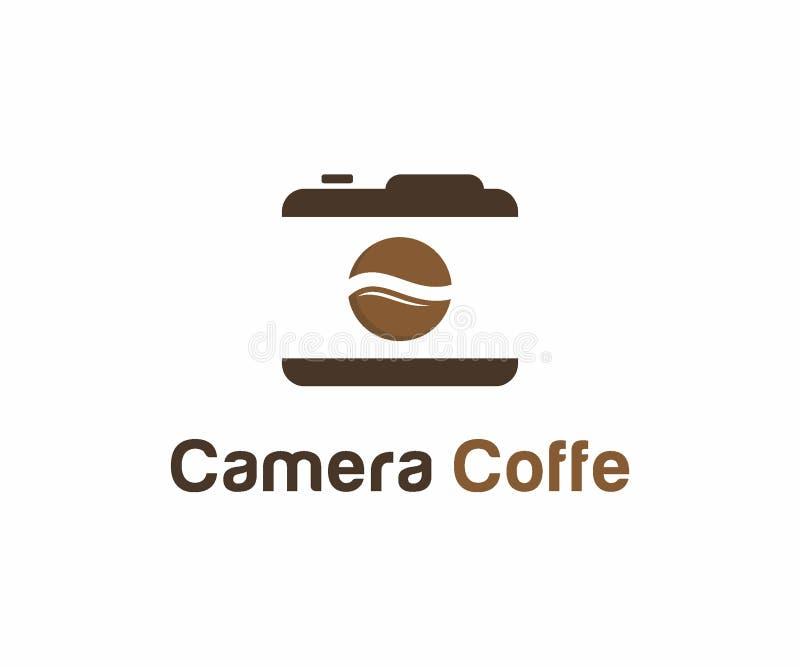 Het concept van het het embleemontwerp van de camerakoffie, het malplaatje van het Koffieembleem stock illustratie