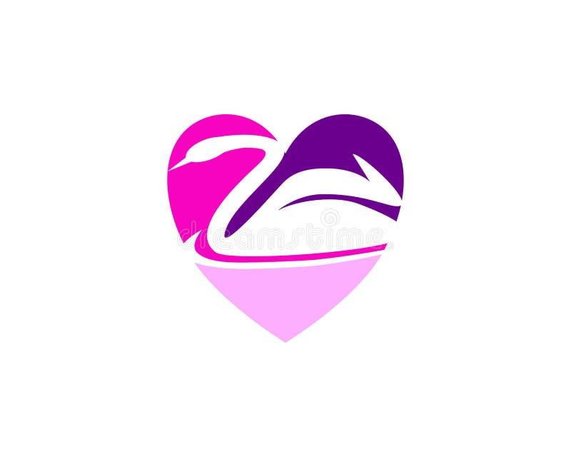 Het concept van het het embleemontwerp van de liefdezwaan royalty-vrije illustratie
