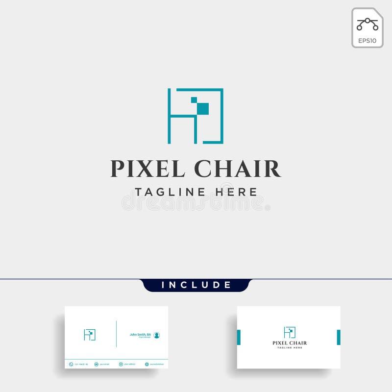 het concept van het het embleemontwerp van het stoelpixel voor ge?soleerde de vector van het technologiebedrijf royalty-vrije illustratie