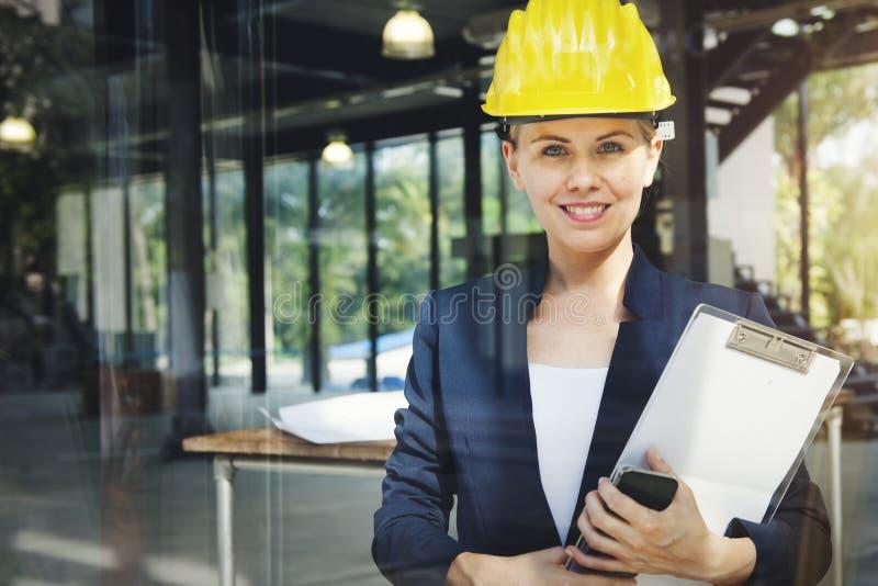Het Concept van Engineer Construction Design van de onderneemsterarchitect stock afbeelding