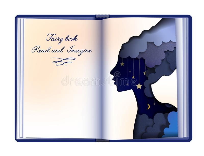Het concept van het Fairytaleboek, de lezing en het verbeeldingsconcept, uitstekende lege boekpagina kijken als document het silh vector illustratie