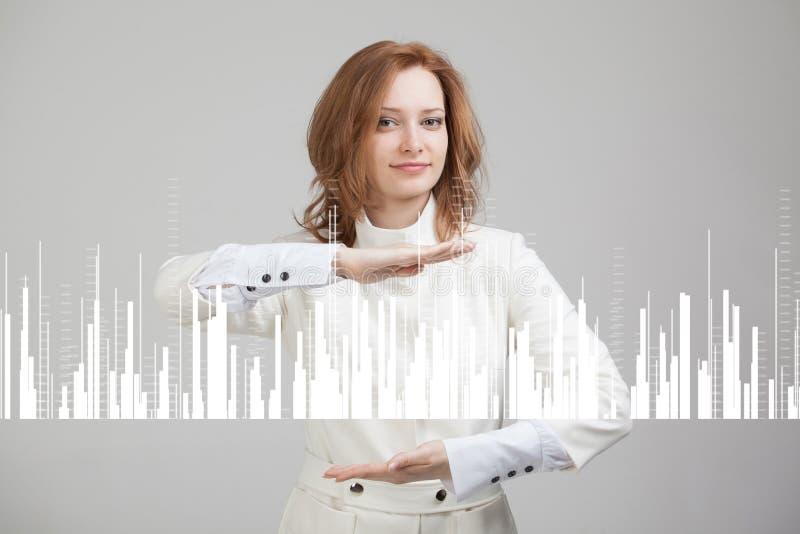 Het Concept van financiëngegevens Vrouw die met Analytics werken De informatie van de grafiekgrafiek over het digitale scherm stock foto
