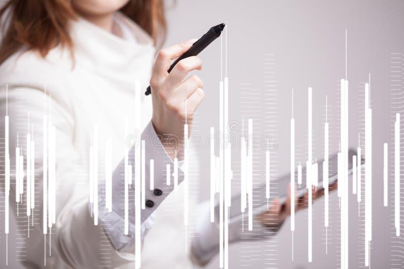 Het Concept van financiëngegevens Vrouw die met Analytics werken De informatie van de grafiekgrafiek over het digitale scherm royalty-vrije stock afbeeldingen