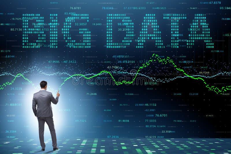 Het concept van fintech financiële grote gegevens met analist stock afbeelding
