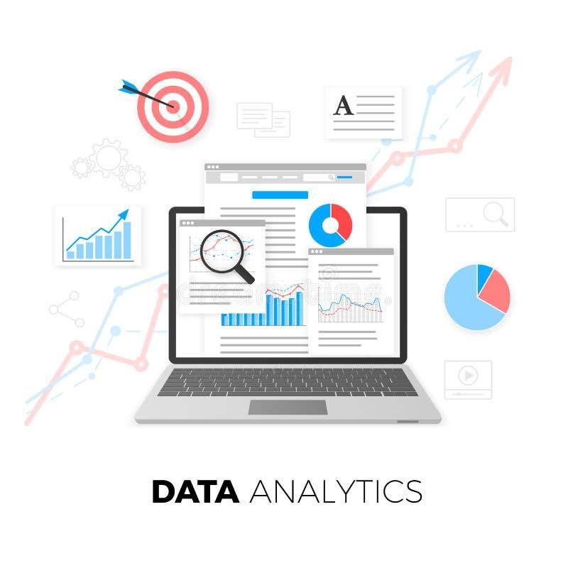 Het concept van gegevensanalytics Optimalisering SEO De motoroptimalisering van het onderzoek SEO-inhoud marketing Het ontwerp va royalty-vrije illustratie