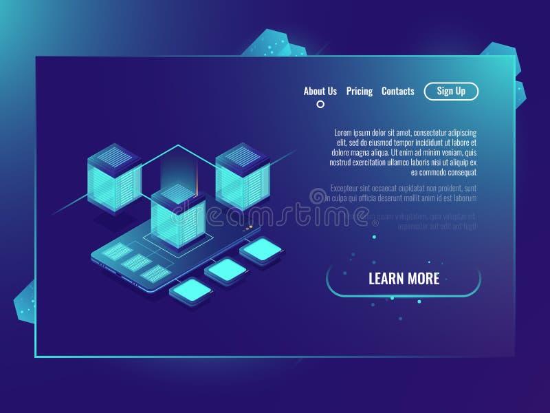 Het concept van het gegevensbeschermingprotocol, gegevens centreert, serverruimte, mobiele telefoonsmartphone met abstracte techn vector illustratie