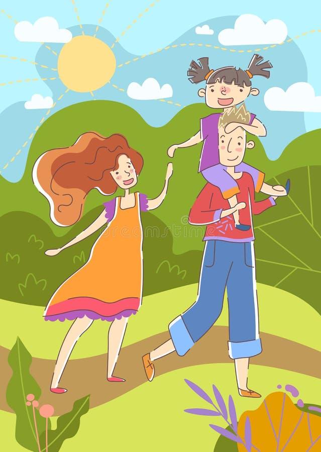 Het concept van het geluk Het paar geniet van een dag in een park op een hete de zomerdag met de vader die zijn kleine dochter a  royalty-vrije illustratie