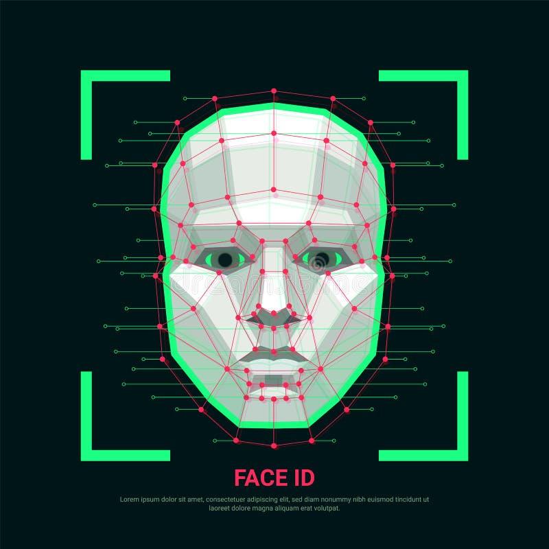 Het concept van gezichtsidentiteitskaart Biometrische identificatie of Gezichtserkenningssysteem Menselijk gezicht die uit veelho stock illustratie
