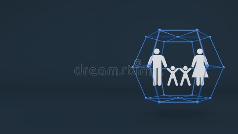 Het concept van het gezinslevenverzekeringsbedrijf, persoon in bescherming vector illustratie