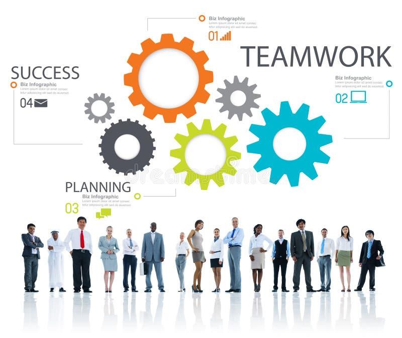 Het Concept van groepswerkteam group gear partnership cooperation stock foto's